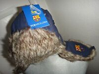 Fcbarcelonaunisex Winter Warm Blue Aviator/trapper Hatear Flapsfaux Fur S/m