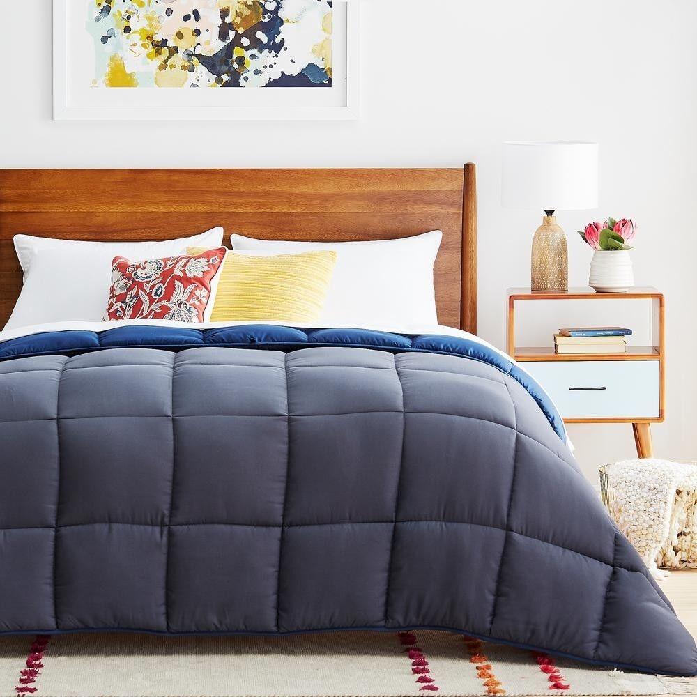 Comforter All-Season Ultra-Soft,Hypoallergenic Reversible Oversized King, Navy