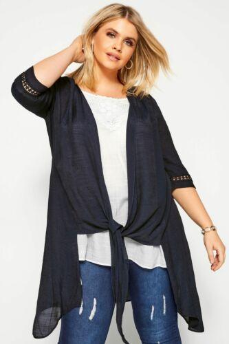Yours Clothing Women/'s plus taille Bleu marine /& blanc 2 en 1 Crochet Tunique