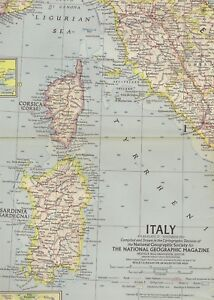 Railroad Map Of Italy.Details About 1961 National Geographic Railroad Map Italy Rome Sicily Florence Venice Sardinia