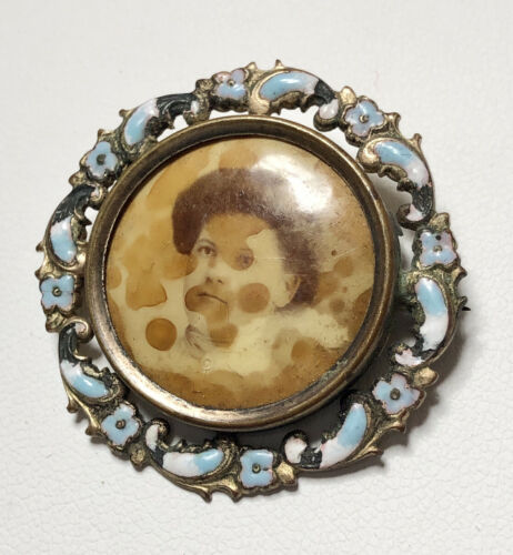 Vintage Photo Brooch .. Lapel Pin Peacock and Flowers .. Oval Portrait Frame ..