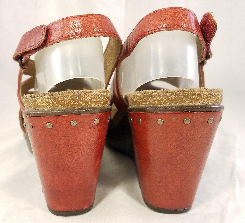 Dansko Mujer Cuñas Plataforma Con Zapatos Sandalias Rojo Con Plataforma Tachas Talla 41 10-10.5 ec13d9