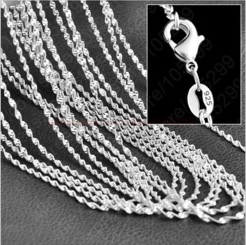 """Wholesale 5pcs 2 Mm 925 Plaqué Argent Double Water Wave Chain Colliers 16/"""" 24/"""""""