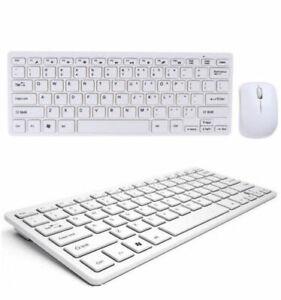 MINI SLIM 2.4GHz Tastiera e Mouse Wireless  per USB PC Laptop Computer bianco