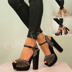 New-Womens-High-Block-Heel-Platforms-Ladies-Studded-Peep-Toe-Shoes-Size-Uk-3-8