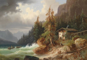 Great-oil-painting-nice-landscape-seascape-amp-ocean-waves-and-boat-by-beach