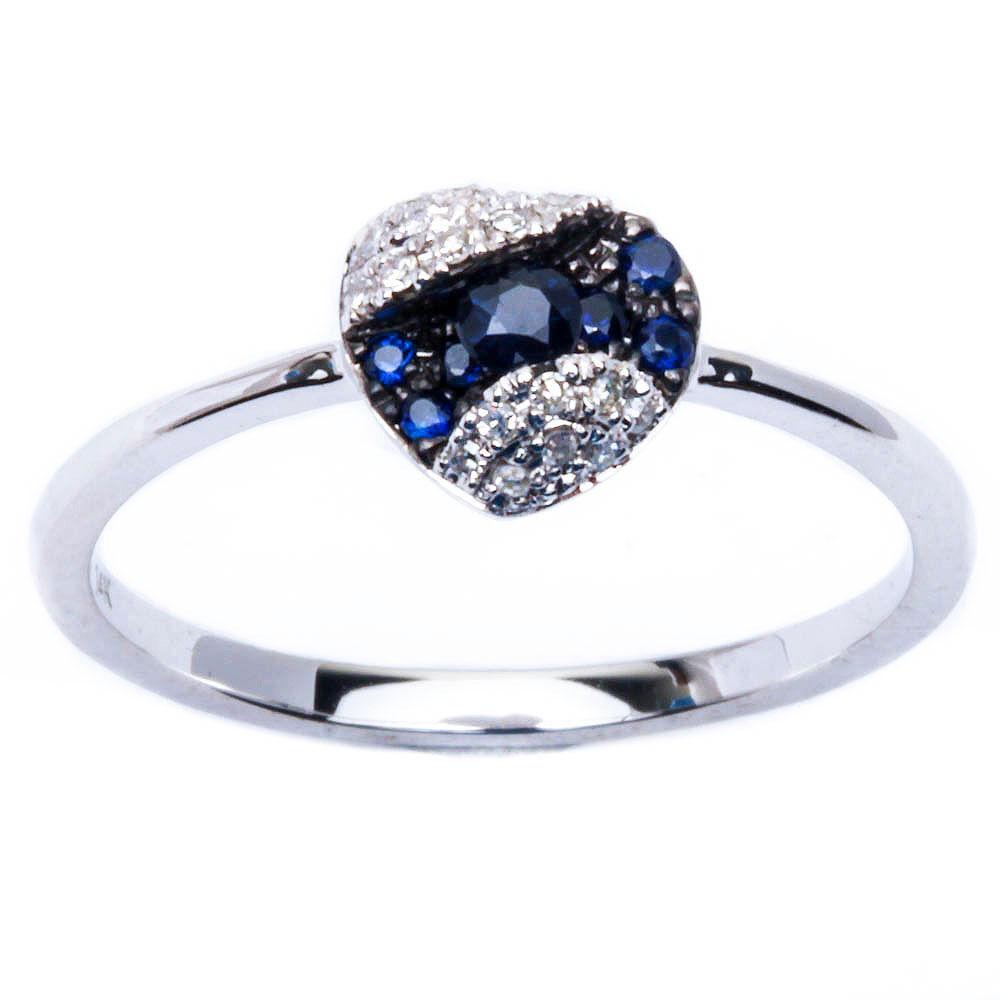 E VS Quality 14kt gold Genuine Diamond, bluee Sapphire Fine Gemstone Ring Sz. 6.5