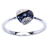 E Vs Quality 14kt Gold Genuine Diamond, Blue Sapphire Fine Gemstone Ring Sz. 6.5 on sale