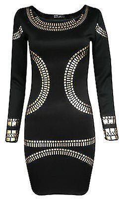 New LAdies Plus Size Foil Print Bodycon Midi Dress 16-24