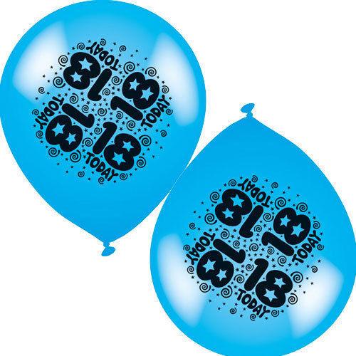 "Birthday//Anniversary Balloons10/"" Inch Printed  Balloons 8 Pack Air Or Hellium"