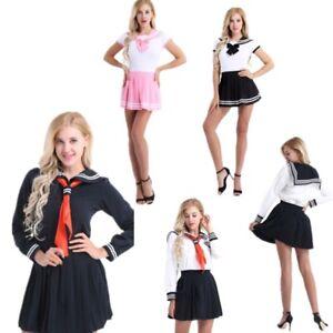 9da3a2efd25 Image is loading School-Girls-Japanese-Sailor-Suit-Uniform-Dress-Costumes-