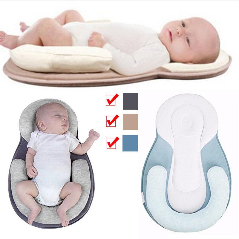 Newborn Infant Baby Pillow Cushion Prevent Flat Head Sleep Nest Pod Anti Roll UK 2