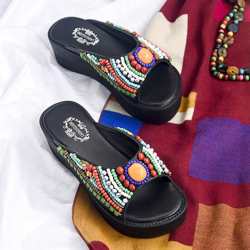 Sandalen Schwarz Färbung Hausschuhe Holzschuhe Seil Keilabsätze 5 cm Elegante &