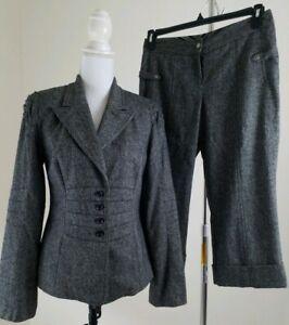 Yansi-Fugel-Women-039-s-Size-8-4-Gray-Wool-Blend-Pants-Suit-Career-Office-Wear