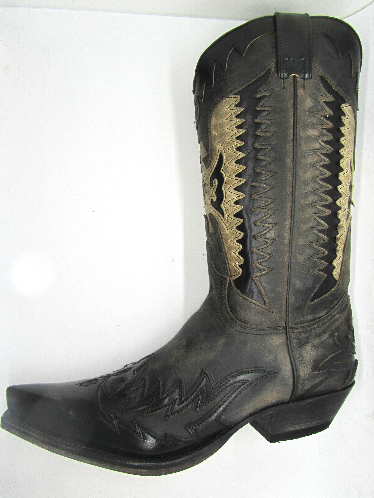 Sendra 13040 Cowboy Boots Black Grey Distressed Leather Eagle Western Biker Boot
