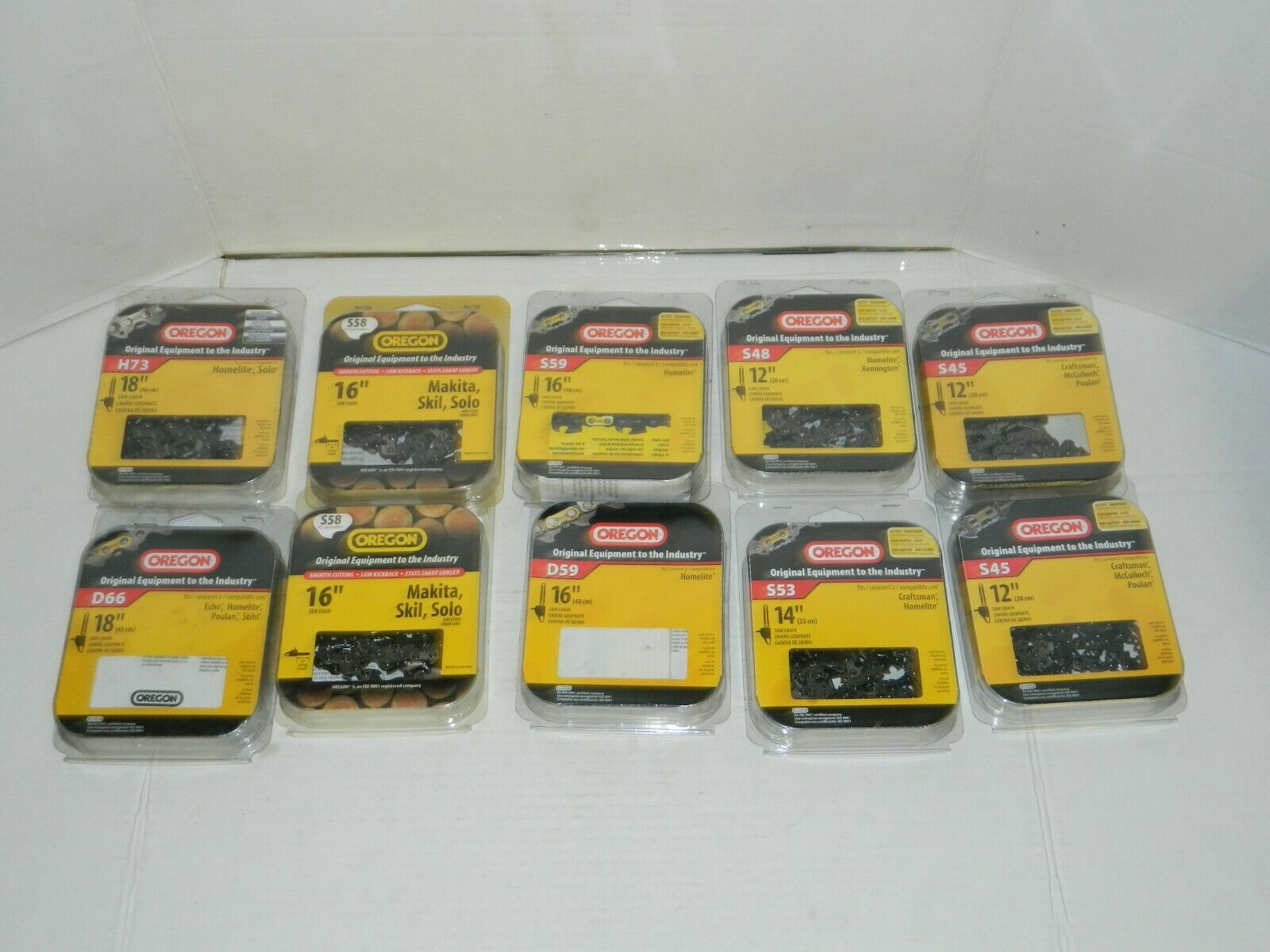 Lote de 10 Cadenas De Motosierra Oregon-H73, D66, D59, S45, S48, S53, S58 y S59