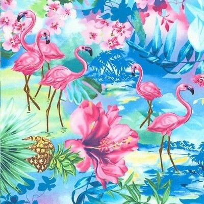 Flamingo Pond Water Blue by Timeless Treasures cotton fabric Oasis