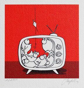 ORIGINAL-PRINT-ANDREA-SANGALLI-SERIGRAFIA-RETOUCHE-039-PESCI-IN-TV-ROSSO