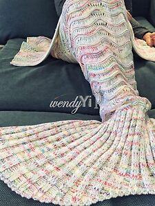 Super-Soft-Crocheted-Mermaid-Tail-Blanket-Knitting-kids-amp-Adult-Sofa-Sleeping-Bags