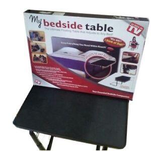 My-Bedside-MESA-para-CAMA-PLEGABLE-mesa-auxiliar-negra-mate-ajustable-pc-comida