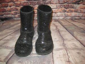 50d6e866696 UGG Australia 3161 WOMEN'S CLASSIC SHORT Black SEQUIN SPARKLE Boots ...