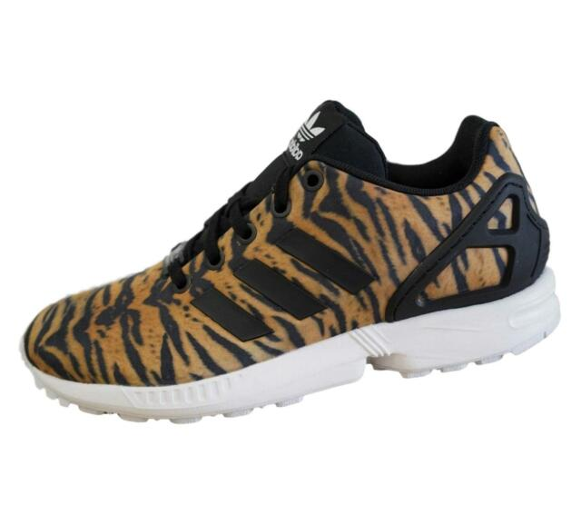 big sale 89df9 f7ef1 adidas Originals Kids ZX Flux Tiger Print Trainers