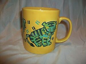 Image is loading Vintage-Staffordshire-England-Kiln-Craft -Yellow-Green-Tiger- & Vintage Staffordshire England Kiln Craft Yellow Green Tiger Mug ...