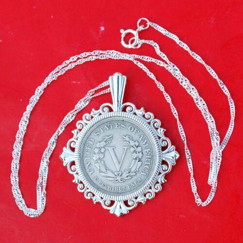 """Etats-Unis 1883 LIBERTY /""""V/"""" Nickel Solide 925 Argent Sterling Collier NOUVEAU-MAGNIFIQUE"""