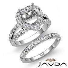 Pave Diamond Engagement Ring Heart Bridal Setting Platinum 950 Semi Mount 2.75Ct