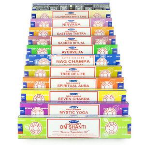 Genuine-Satya-Sai-Baba-Nag-Champa-Variety-Set-AA-12-x-15-gram-Boxes-of-Incense
