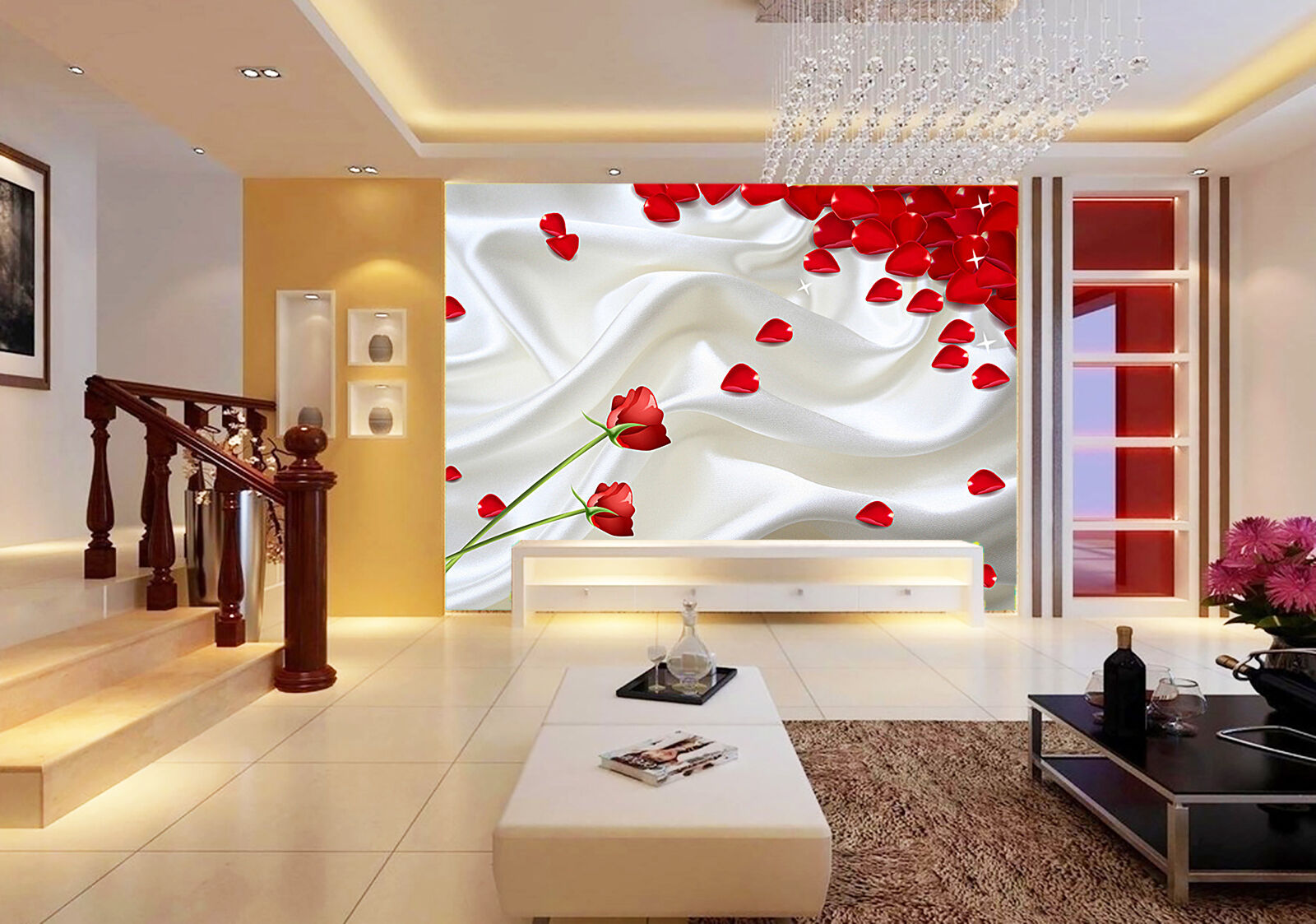 3D Shining Flowers Satin 75 Paper Wall Print Wall Decal Wall Deco Indoor Murals