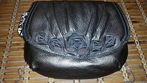 New-Brighton-Leather-Velvet-Rose-Pouch-NWT-Pewter