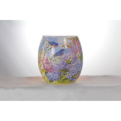 "SCF7252 3/"" Bluebird Butterfly Lilac Lighted Glass Jar Votive Spring Flower"