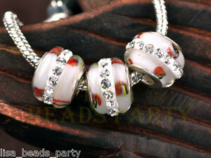New-5pcs-15mm-Lampwork-Glass-Round-Rhinestone-Stripes-Loose-Big-Hole-Beads-White