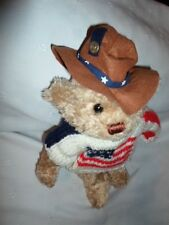 """Brass Button Bears Clay Jointed Americana 13"""" Plush Soft Toy Stuffed Animal"""