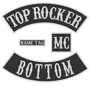 "B Custom Embroidered 14/"" Full Vest Set Rocker Patch Biker Patch 7 PC"