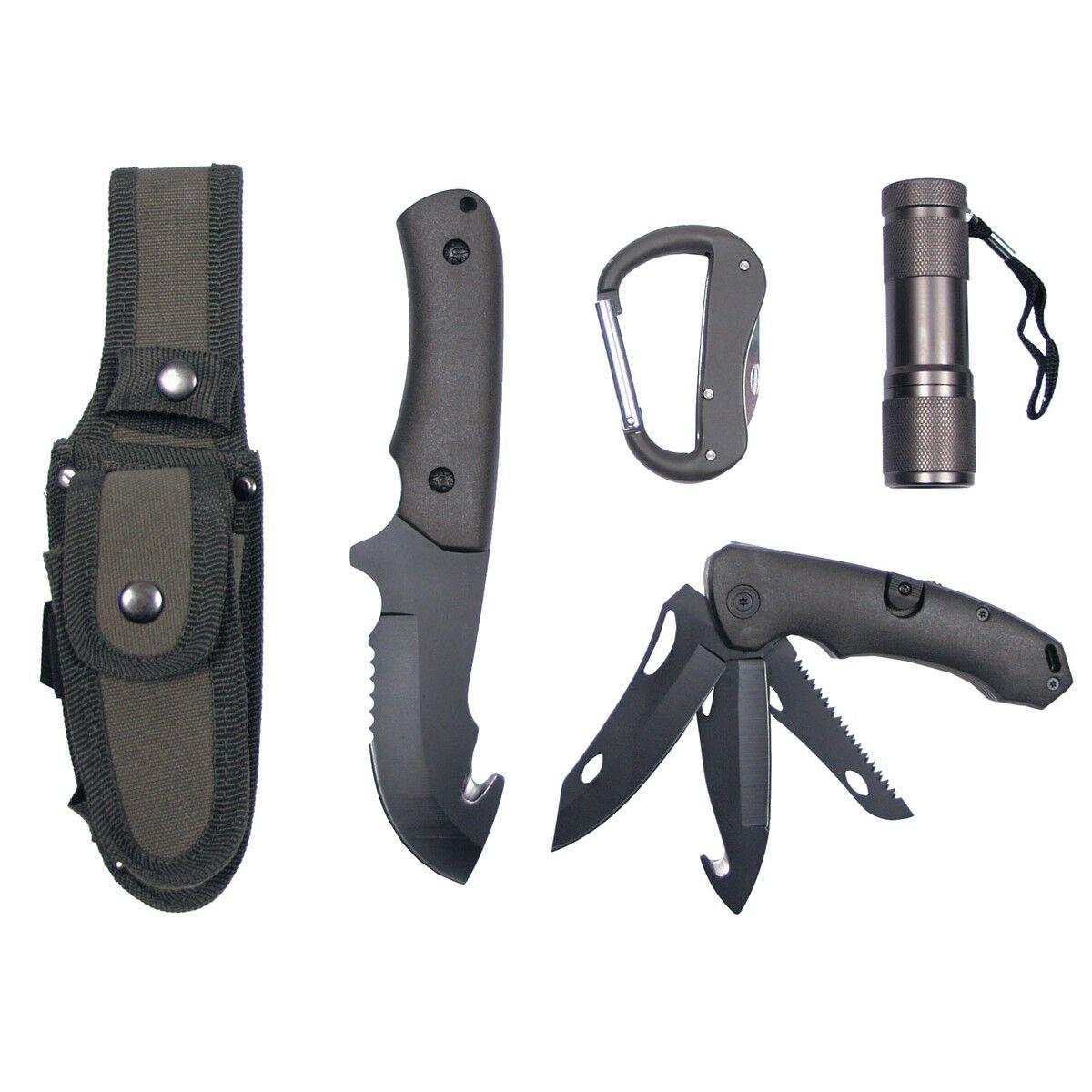 MFH Messerset, mit mit mit LED und Nylon-Scheide, oliv 6a353d