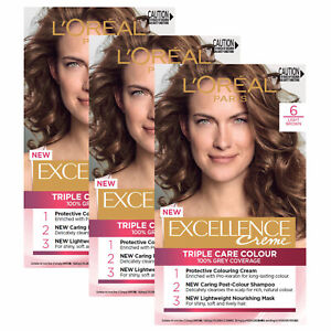 L'Oreal Paris Excellence Creme Hair Colour Grey Coverage 6 Light Brown x 3