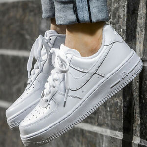 Nike-Air-Force-1-Classic-Triple-White-with-Silver-Colored-Metal-Men-Women-Pick-1