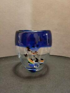 Vintage Muranostyle Hand Blown Heavy Glass Aquarium Vase -  blue with fish