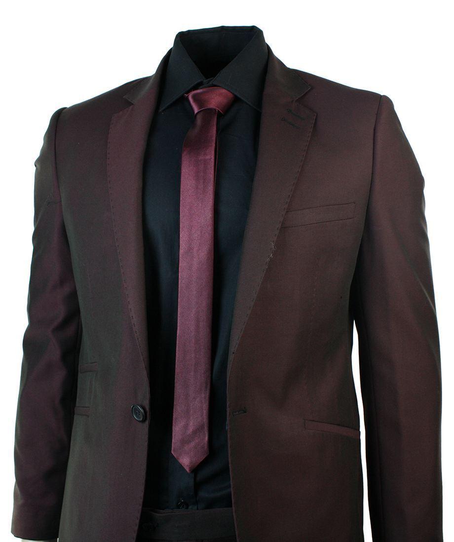 Herren Skinny Fit Slim 1 Button Burgundy Maroon Suit Blazer Trouser Prom Wedding P