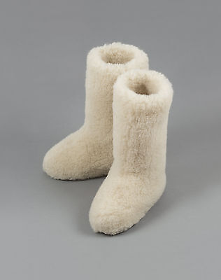 WHITE CALF TALL LADIES WOOL BOOTS WARM NATURAL SLIPPERS SHEEP Size 5 38 EU