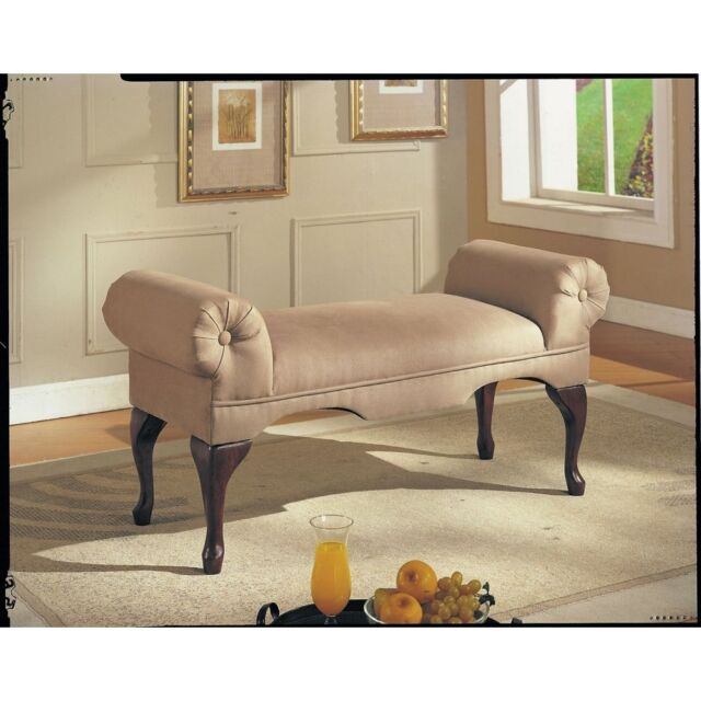Upholstered Bench Seat Bed Room Living Foyer Hall Way Entry Backless Sofa  Wood