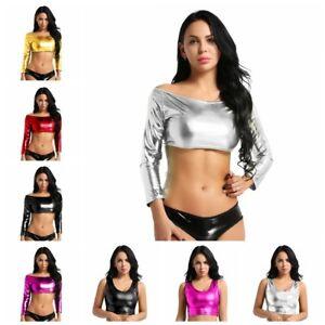 987f9b34e8 Image is loading Women-Fashion-Metallic-Tank-Top-Bustier-Vest-Blouse-