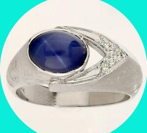 2.55CT mens VS diamond Linde star sapphire pinky ring 14K W/G oval round sz 7.5