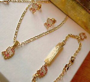 0ce82b1c8 18k Gold filled Pink Hello Kitty BALLERINA 4pc Girl Necklace HOLIDAY ...