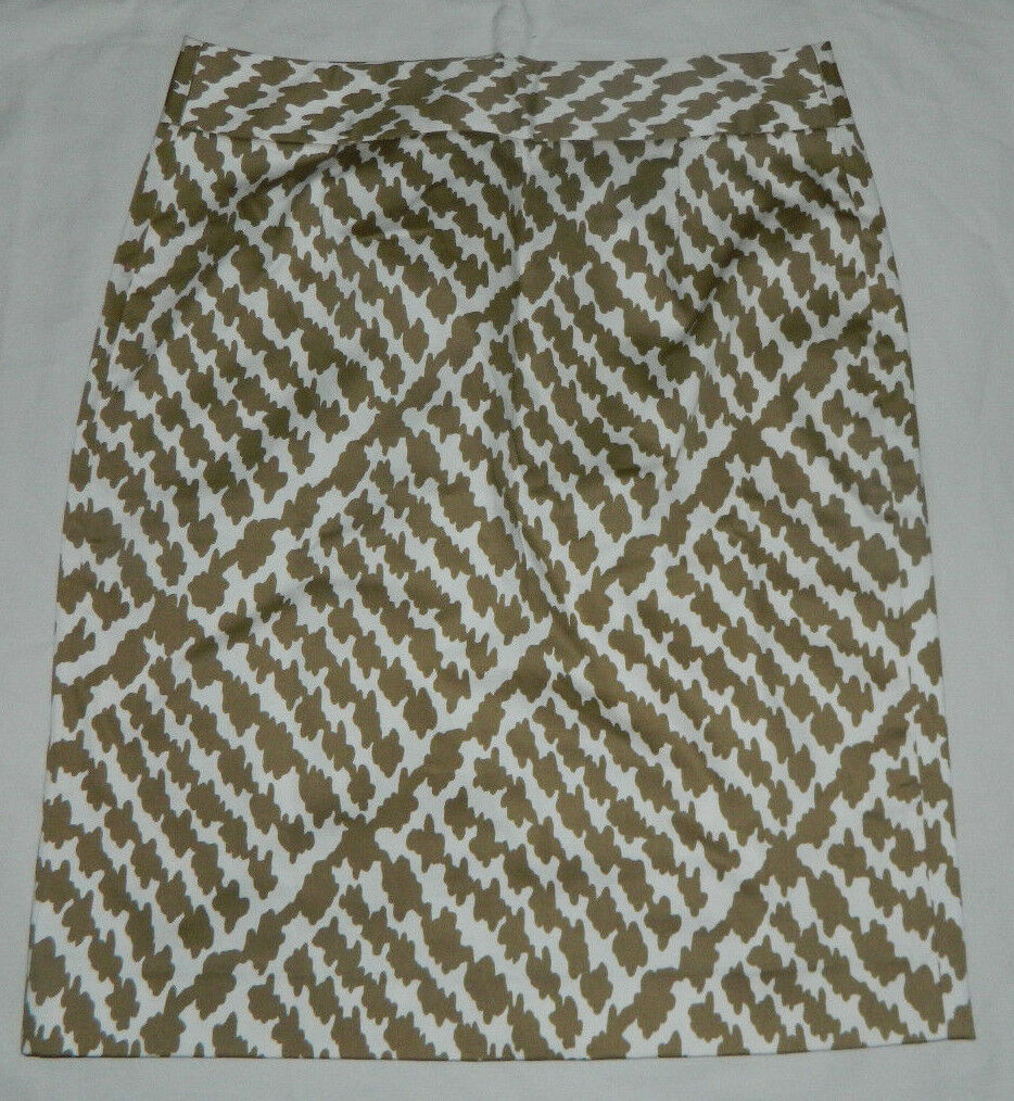 New Women J. Crew Multi-color Geometric Straight Pencil Casual Work Skirt Size 4