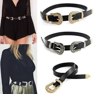 Women Boho Lady Vintage Metal Leather Double Buckle Waist Belt Waistband Silver