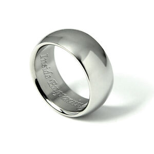 Plain Mens Wedding Ring Engraved Grooms Band Personalised Steel