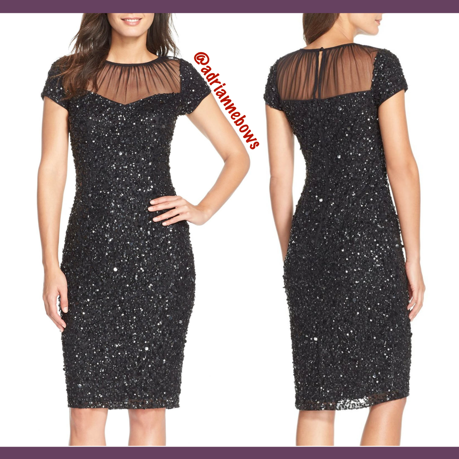 NEW Adrianna Papell Sequin Embellished Sheath Dress in Black [SZ 4 ] #N174